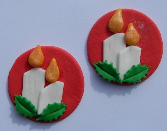 12 edible CHRISTMAS CANDLES with HOLLY discs cake cupcake