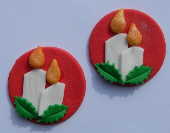 Edible Holly Cake Decorations Asda : 12 edible CHRISTMAS CANDLES with HOLLY discs cake cupcake