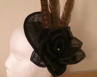 Black fascinator with sinamay flower and pheasant feathers