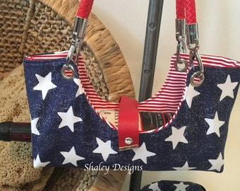 Stars and Stripes Fabric Bottle Boat/Wine Purse/Bottle Caddy
