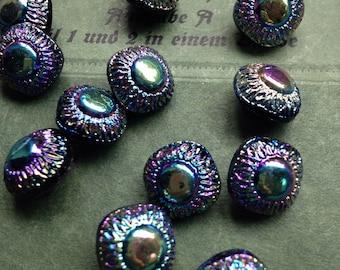 10 old collector / glass buttons - black iridescent patterns - Artdeko - Antique Victorian Black Glass buttons - rarity 1, 2 cm
