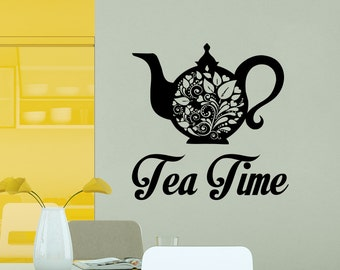 Wall Decal Tea Decals Cafe Dining Tea Time Vinyl Stickers Murals Modern Interior Kitchen Home Decor Art Design Interior NS1016
