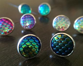 Mermaid Earrings, Mermaid Scales, Gift for her, Dragon Studs, Fantasy Earrings Bridesmaid Gift Gypsy Jewelry Bohemian Hippie