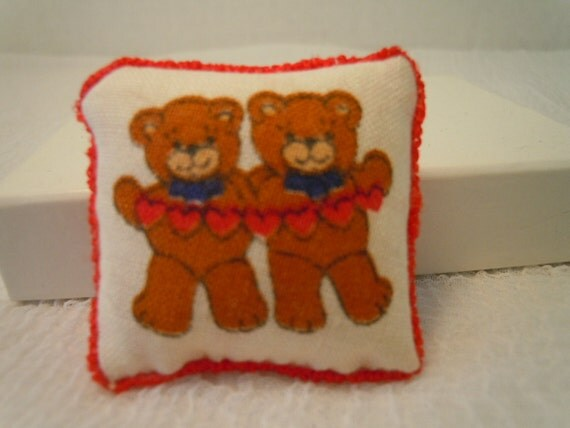 Miniature Teddy Bear Pillow Handmade Vintage Nursery