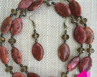 Genuine Chedron Agate Handmade Necklace, Boho Necklace