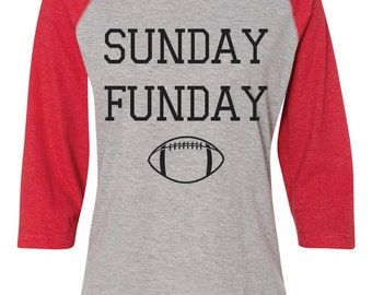 Sunday Funday Shirt. Red Football Shirt. Red Football Raglan Tee.