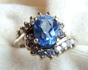 Baby Blue Quartz Cluster Ring in Sterling Silver