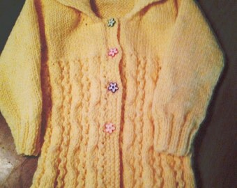 Yellow Winding Cable Cardigan