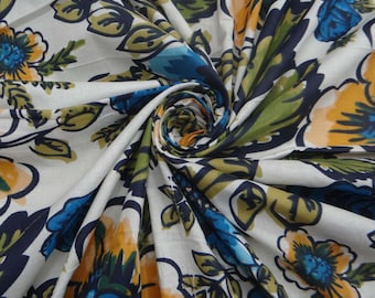 "Indian Decorative Floral Printed White Fabric 44"" Wide Fabric Cotton Sewing Apparel Drape Dress Making Material Fabric By 1 Yard ZBC4237"