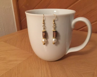 Gold and Pearl Dangle Earrings; Recycled Water Bottle Beads
