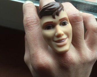 ring handmade-doll face ring adjustable//ring//doll face Actionman doll parts//barbie jewelry//special gift idea