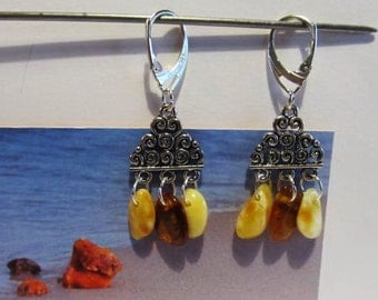 100% Natural Baltic #Amber #Earrings 5.3 gr. 925 #Silver plated yellow and cognac opaque #beads #souvenir #gift #present 3 suspenders