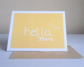 Yellow Hello There Greeting Card set of 5 | Greeting Card, handmade greeting card, Hello greeting card, Just because card, blank card set
