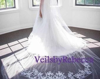 2 tier cathedral lace applique veil, ivory lace cathedral blusher veil, cathedral lace wedding veil, long lace bridal veil, custom made veil