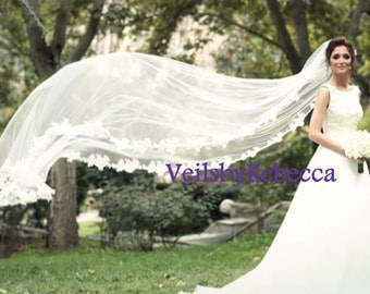1 tier cathedral lace veil, ivory/white French Alencon lace cathedral veil, crystal beading cathedral lace veil, lace wedding veil V618
