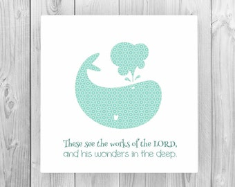Children's bible verse print; Psalms 107:24 Canvas; Church nursery art; whale art; faith inspired word art for Christian kids