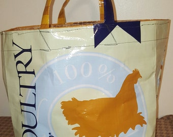 Up-cycled Chicken Feed Tote