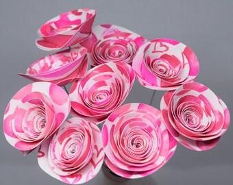 Hot Pink Baby Shower Centerpiece- 9 Hot Pink Paper Flowers, Paper Flower Centerpiece, Pink Paper Bouquet, Birthday Bouquet, Tea Party Decor
