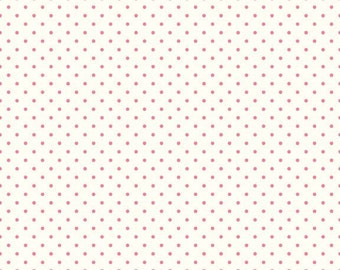Hot Pink Swiss Dots on Cream Le Creme - Riley Blake Designs - Polka Dot - Quilting Cotton Fabric - by the yard fat quarter half