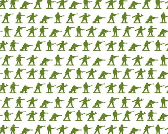 Military Max Men White by Riley Blake Designs - Military Max Green Army Soldier - Quilting Cotton Fabric - half yard end of bolt