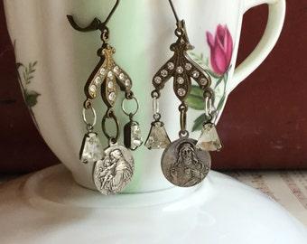 Rhinestone Sacred chandelier earrings- unique vintage assemblage earrings