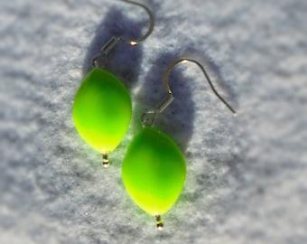 Green Bead Earrings - Green Dangle Earrings - Bright Green Earrings - Handmade Green Earrings - Neon Green Earrings