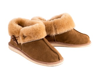 Woman's Sheepskin Slippers with natural leather - hand made and healthy shoes - Keep warm this winter