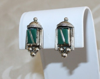 Vintage, Turquoise on Silver, Lamp Earrings