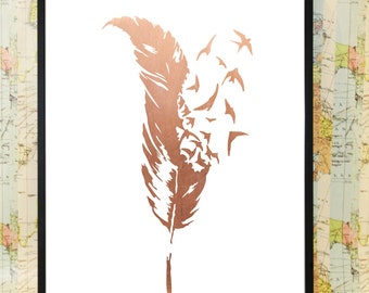 feather swallow copper poster typography print