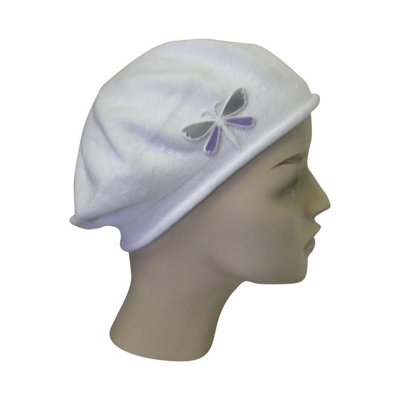 ladies white beret hat a dragonfly applique stylish