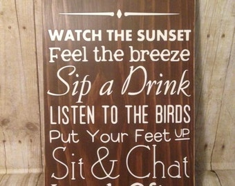 Porch Rules Wood Sign, Porch Wooden sign