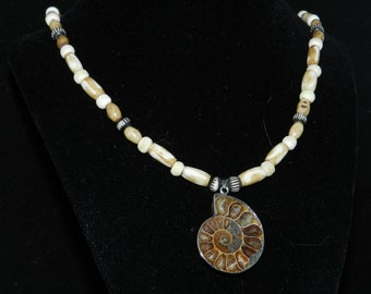 CLEARANCE * Natural Bone and Ammonite Pendant Necklace