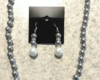 Grey and White Pearl Necklace and Earring Set