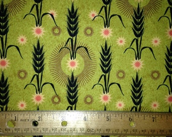 Black Wheat Stems on Olive Green Background with Starbursts , Oakdale by Mark Lipinski's Home for Northcutt, 100% Cotton