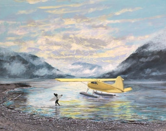 """Surfing Alaska, 14"""" x 14"""" Gallery Wrapped Canvas"""