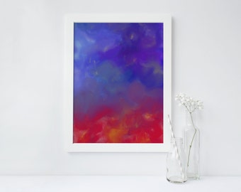 blue red giclee painting print artwork abstract