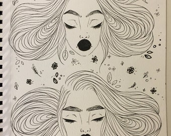 Blank Faces Original Ink Illustration