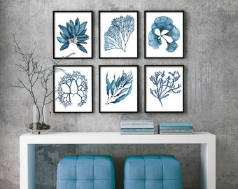Set of 6 Coral and Seaweed Nautical Prints in Blue Set#3 - Watercolor Painting Wall Decor Wall Art Poster Coastal Art Coral Print Nautical