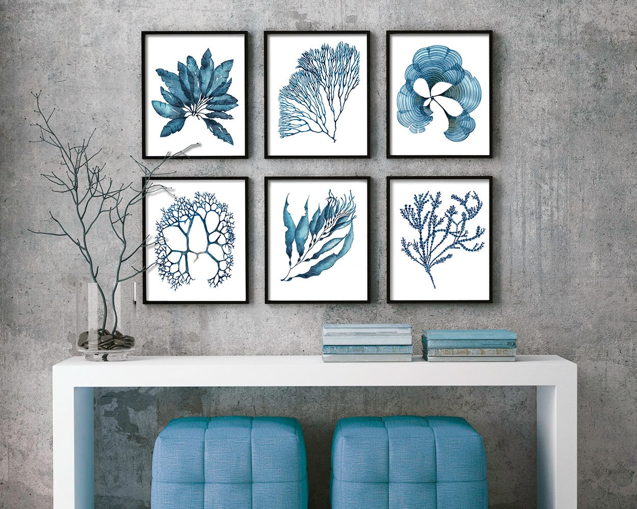 Set of 6 coral and seaweed nautical prints in blue set3 for Beach house prints