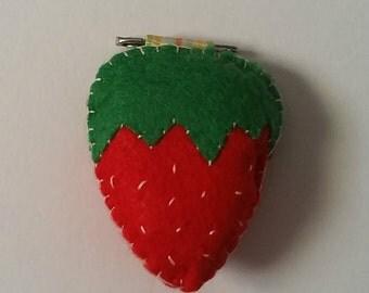 Strawberry Felt Pin Charm