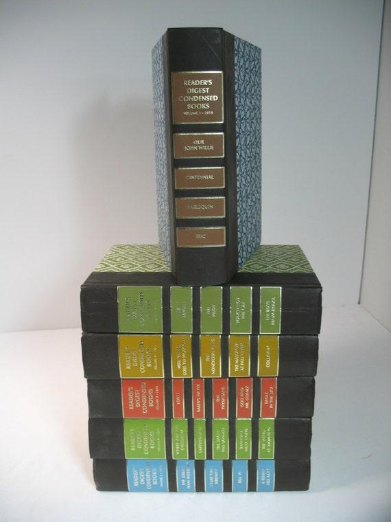 Vintage decorative 6 book display set orange blue green - Decorative books for display ...