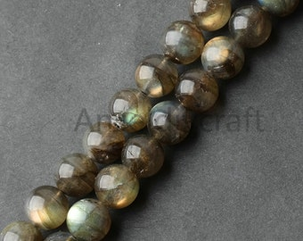 B320 AA Natural Labradorite Beads, Full Strand Round 6 8 10mm Gray Flashing Stone Beads for Necklace Bracelet Jewelry Making