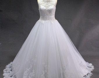 White Ball Gown high Waist Wedding Dress
