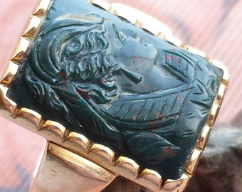 Victorian Bloodstone Ring 14k, Antique Bloodstone Ring, Carved Bloodstone Gold Ring