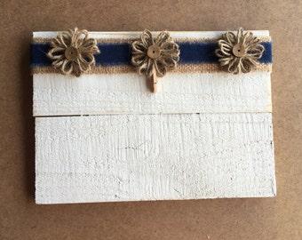 Denim/ flower picture frame/holder.