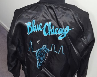 "Vintage 80's Satin style ""Blue Chicago"" Large full zip Jacket"