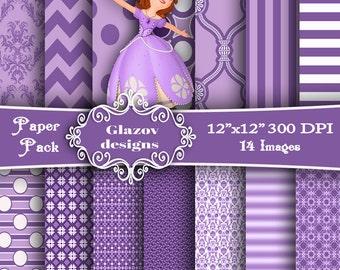 Princess Sofia - Paper Pack - 14 Printable Digital papers - 12 x12 - 300 DPI