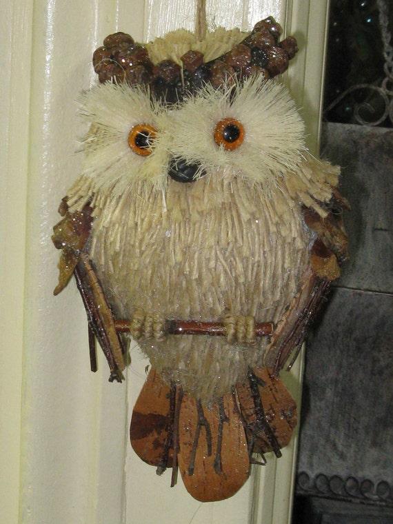 rustic owl ornament - owl door decor