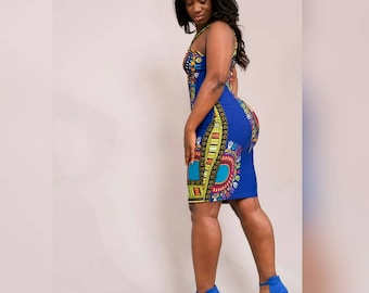 Dashiki print stretchy dress Medium/Large size.