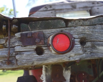 Old truck reflector, vintage truck photograph, wooden truck bed, antique truck photo, rusty, rust